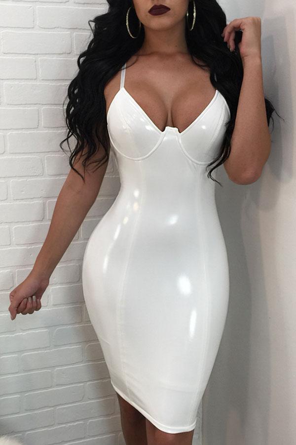 Lovely Sexy Zipper Design White Knee Length Dress