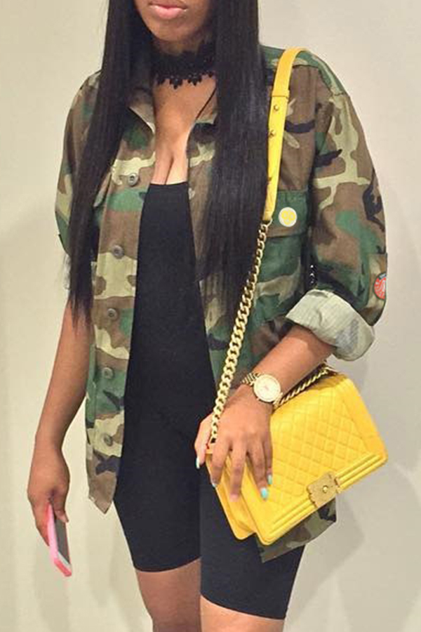 Lovely Casual Camouflage Printed Multicolor Jacket