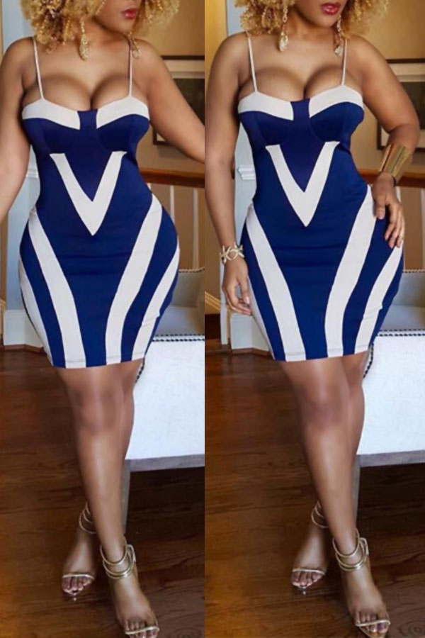 Lovely Sexy Striped Multicolor Mini Dress