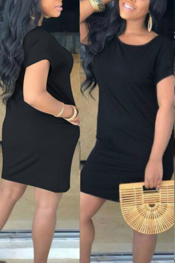 Lovely Casual O Neck Loose Black Mini T-shirt Dress