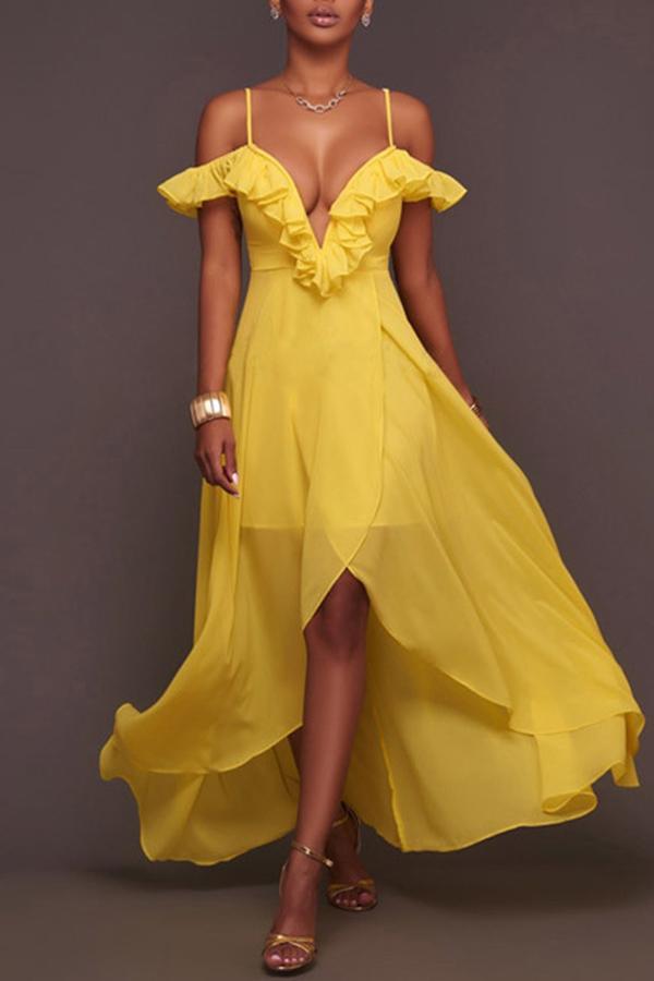 Lovely Sweet Flounce Design Yellow Ankle Length  Dress