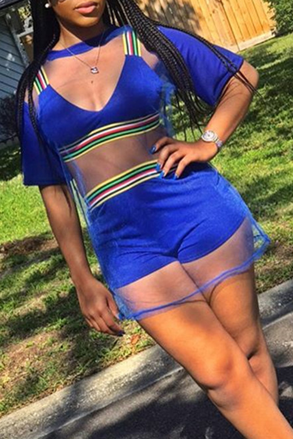 Lovely Casual See-through Blue Blending Two-piece Shorts Set(With Bra)