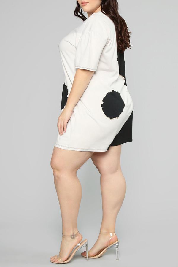Lovely Plus-size Color Lump Black Mini Dress