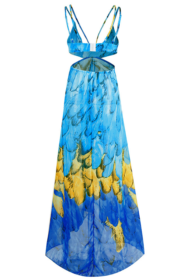 Lovely Trendy Spaghetti Strap Printed Baby Blue Ankle Length Dress