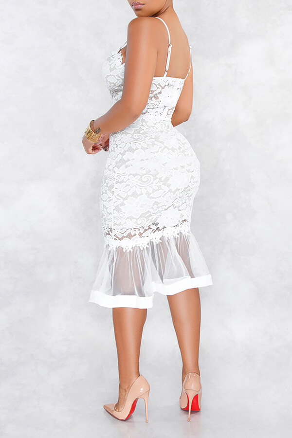 Lovely Sweet Patchwork White Lace Trumpet Mermaid Dress