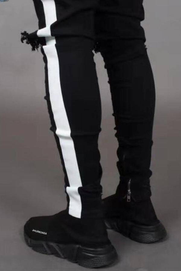 Lovely Casual Striped Broken Holes Black Cotton Pants