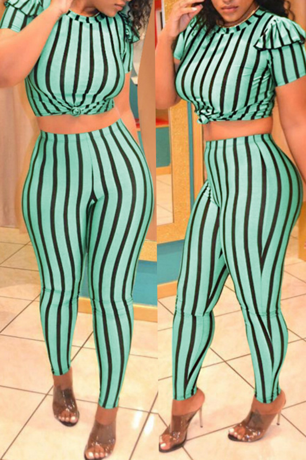 Lovely Qmilch Work Striped Short Sleeve O Neck Long Pants  Two Pieces