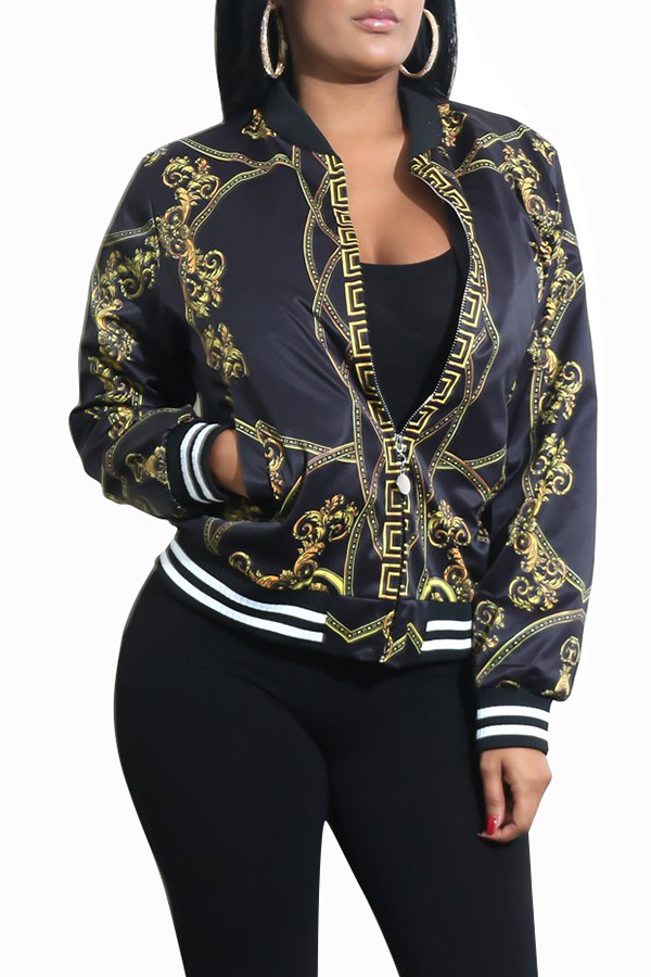 Lovely Casual Printed Black Jacket