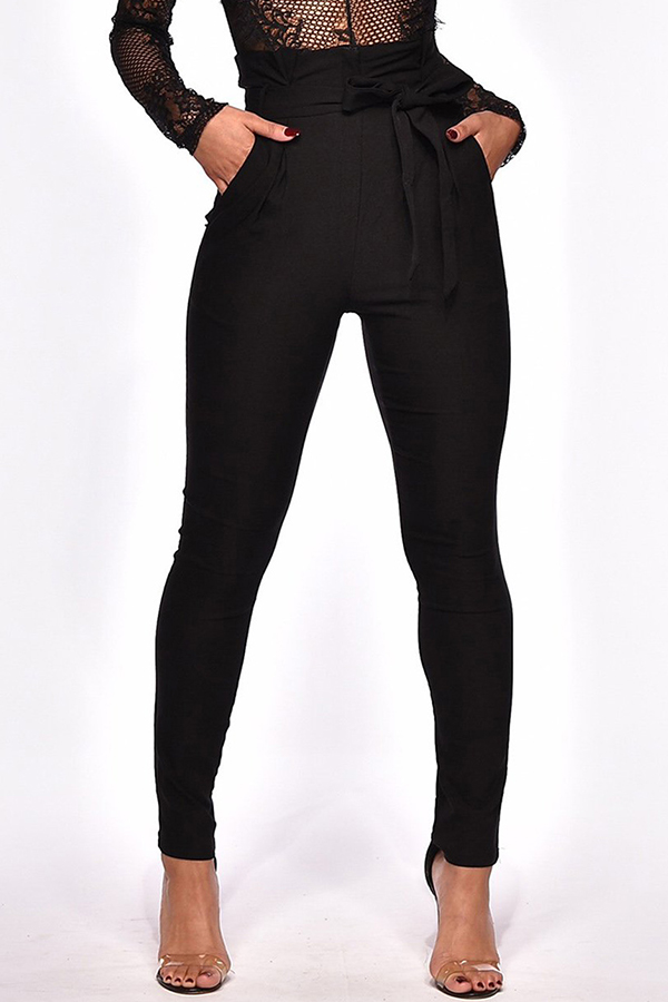 Lovely Trendy Lace-up Black Pants