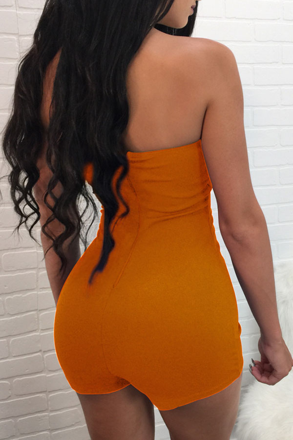 Lovely Casual Bandage Design Orange One-piece Rompers