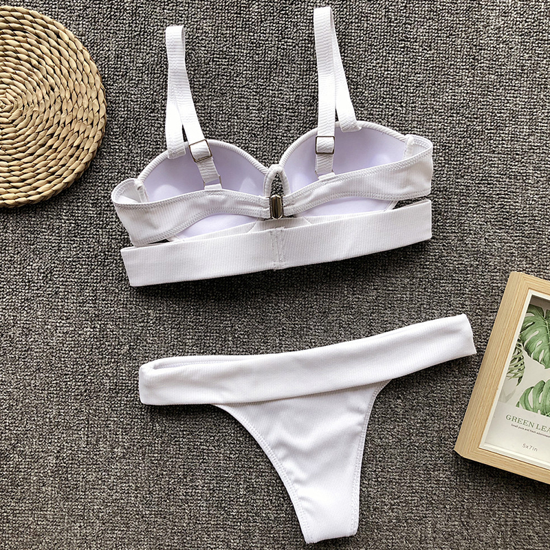 Lovely Casual Spaghetti Strap High-Leg White Bikinis