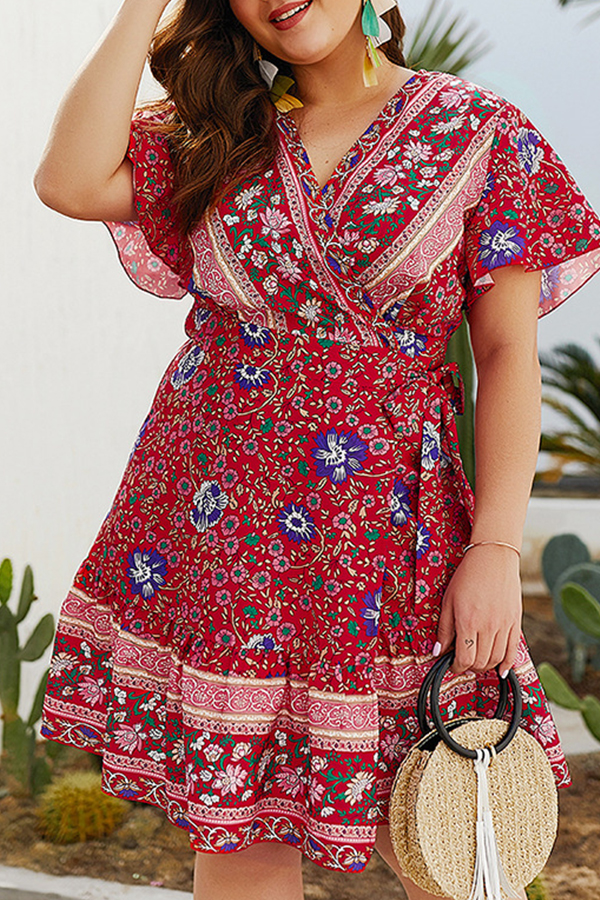Lovely Plus-size Floral Printed Red Mini Dress