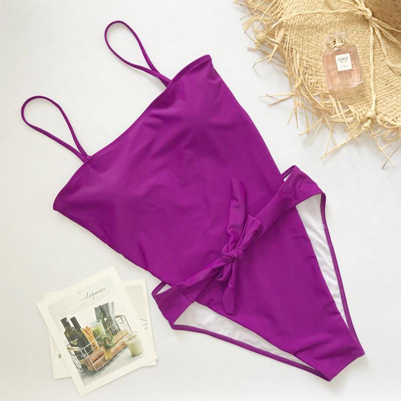 Lovely Sexy Knot Design Purple One-piece Swimwears