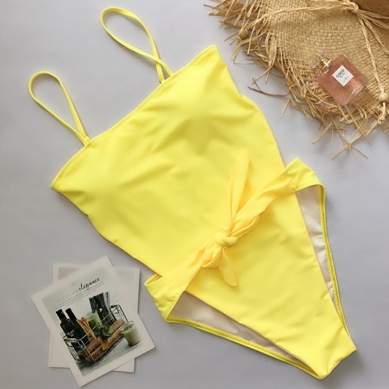 Lovely Sexy Knot Design Yellow One-piece Swimwear