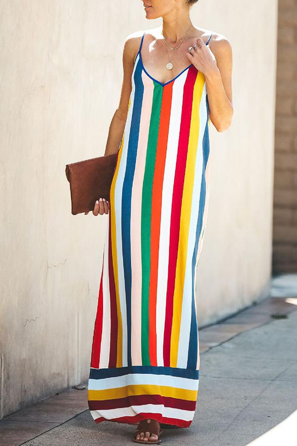 Lovely Casual Striped Side Slit Multicolor Ankle Length Dress