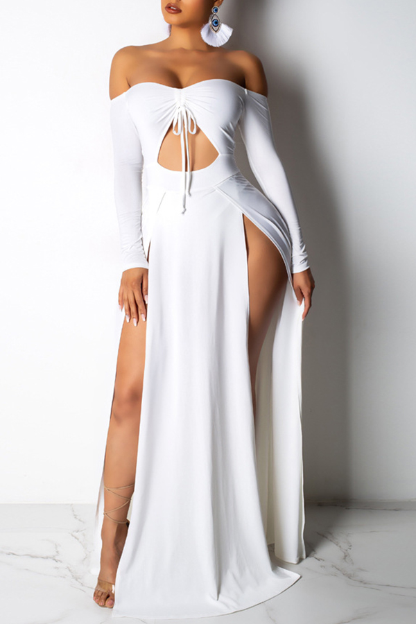 Lovely Women s Hollow-out High Split White Floor Length Maxi Dress(With Elastic)