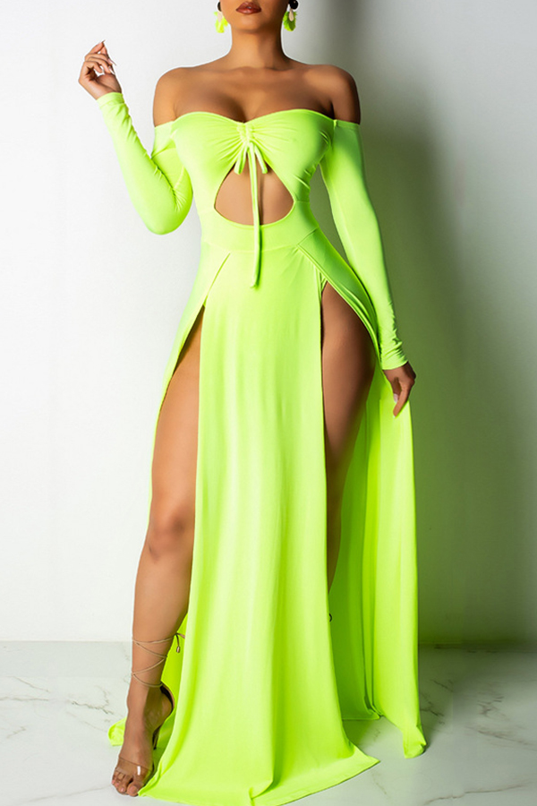 Lovely Women s Hollow-out High Split Green Floor Length Maxi Dress(With Elastic)