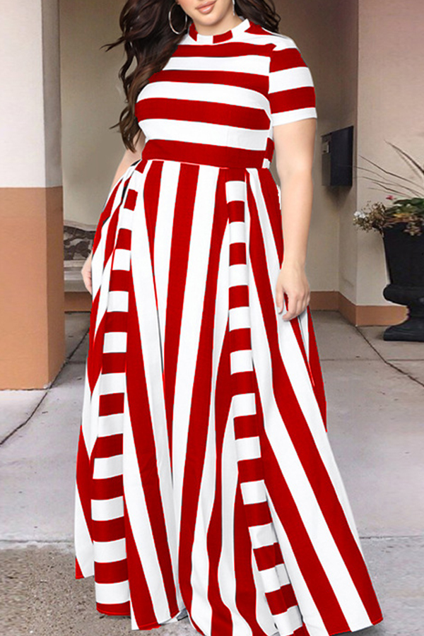 Lovely Red/White Striped Floor Length Dress(With Elastic)
