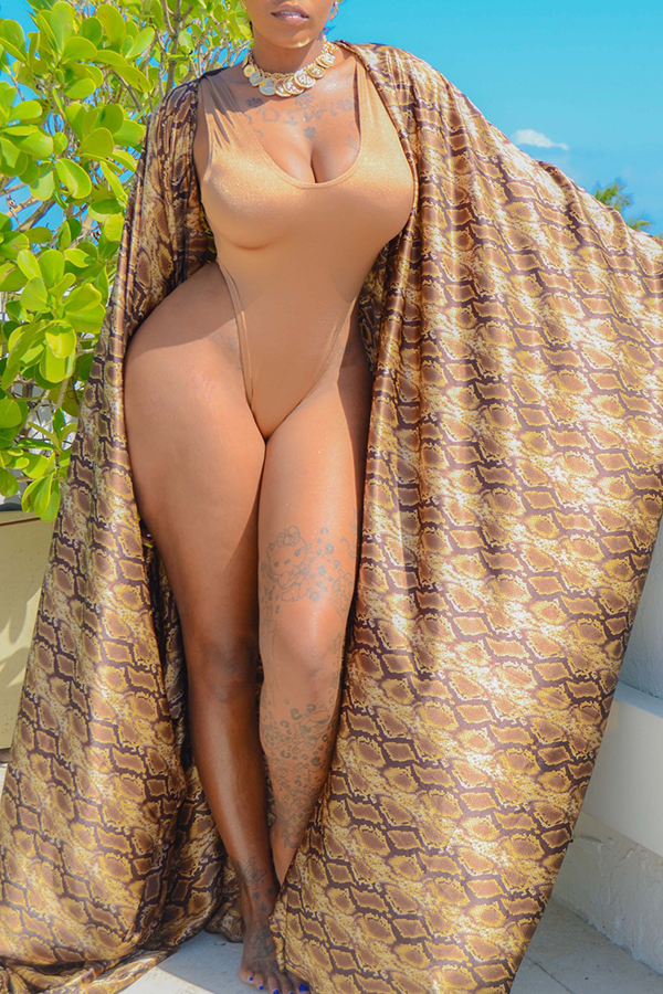 Lovely Casual Printed One-piece Swimwear(With Cover Shirt)