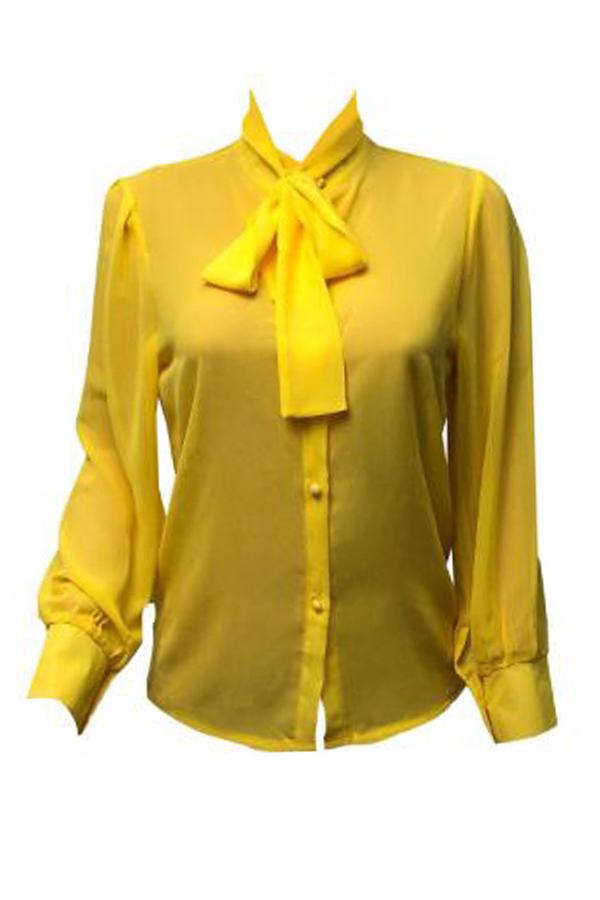 Lovely Yellow Chiffon Work Shirts