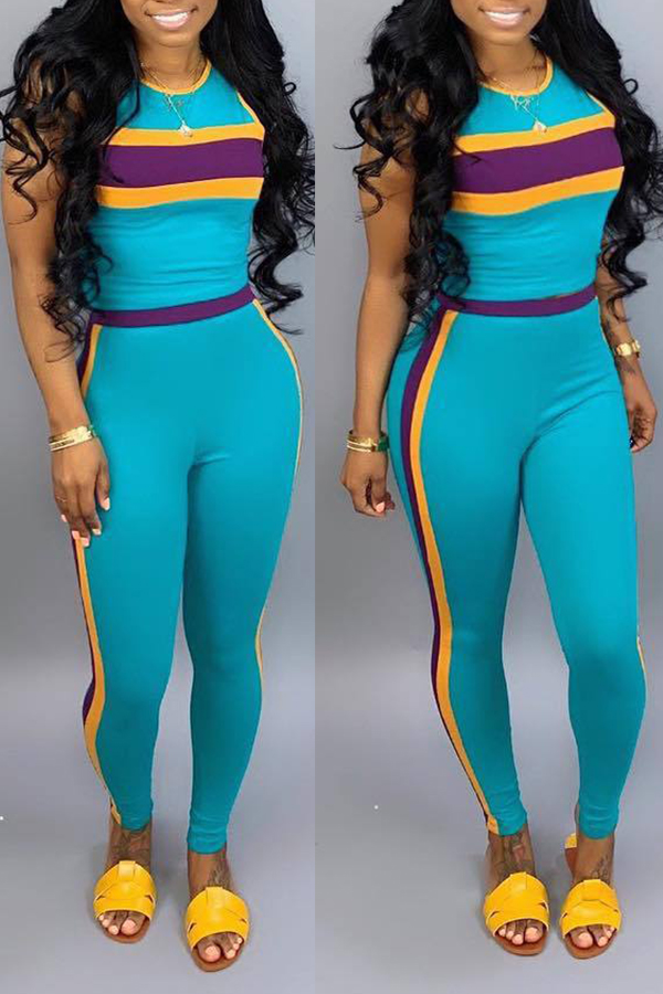 Lovely Casual Striped Patchwork Two-piece Pants Set