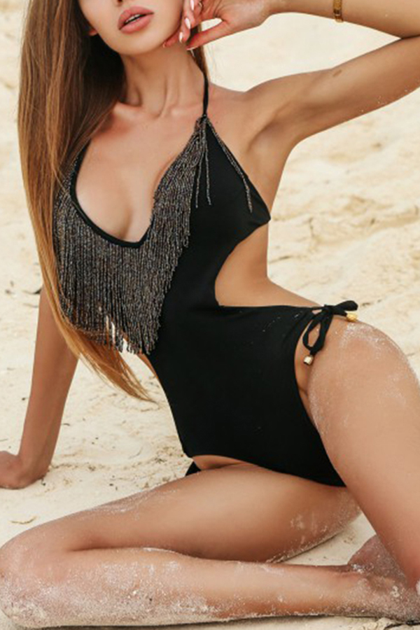 Lovely Sexy Tassel Design Black One-piece Swimwear