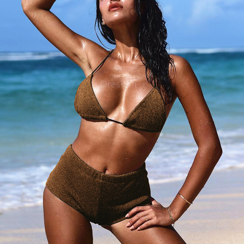 Lovely Halter Neck Gold Two-piece Swimwear