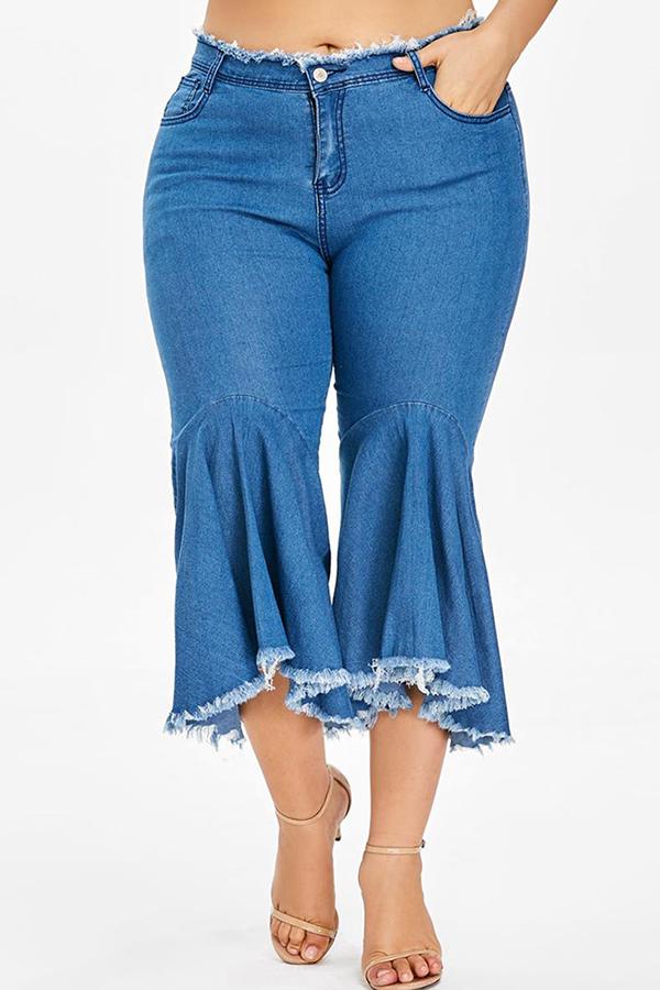 Lovely Stylish Tassel Design Royal Blue Flared Trousers