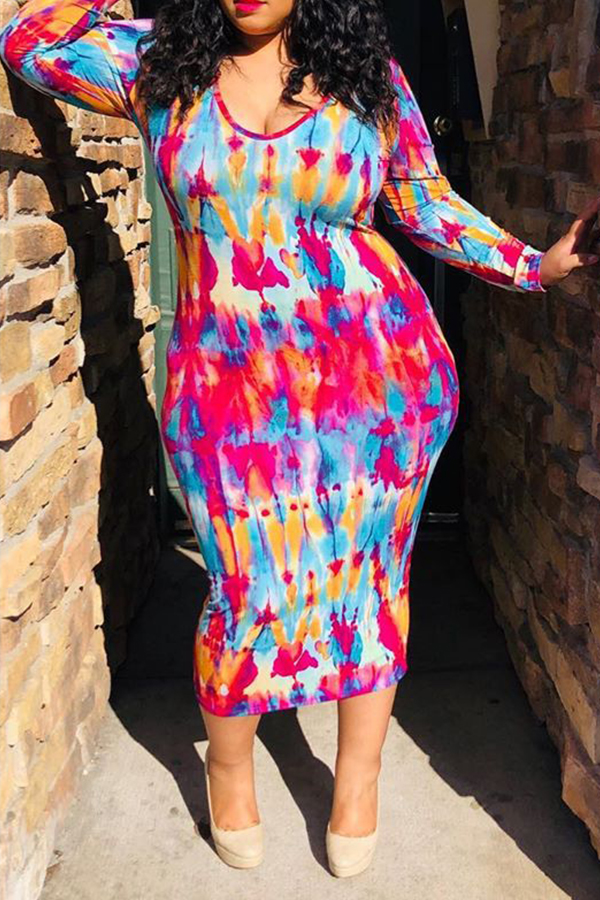 Lovely Plus-size Printed Slim Multicolor Mid Calf Dress