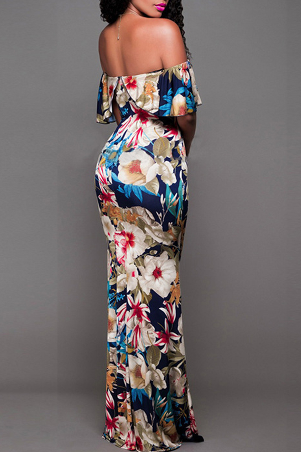 Lovely Sweet Dew Shoulder Multicolor Floor Length Dress