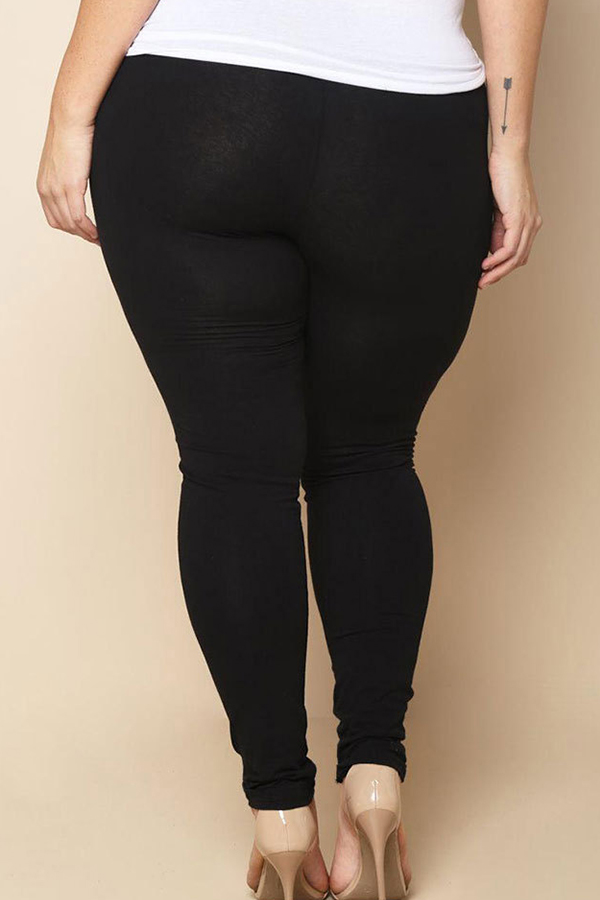 Lovely Plus-size Broken Holes Black Leggings