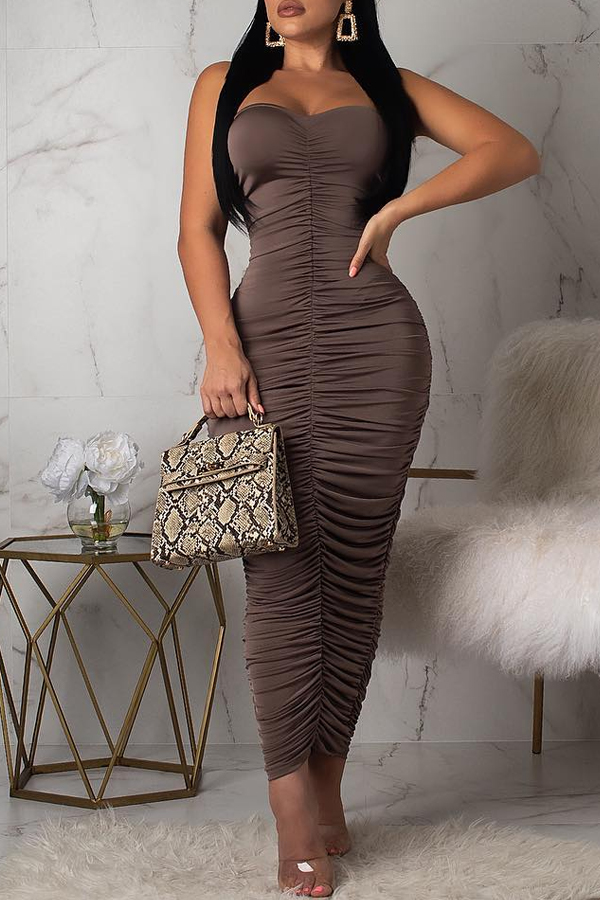 Lovely Sexy Sleeveless Ruffle Dark Brown Ankle Length Dress