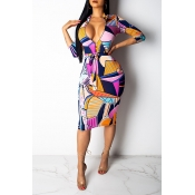 Lovely Work Color-lump Multicolor Knee Length Dres