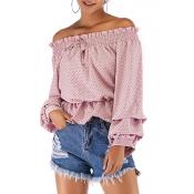 Lovely Sweet Flounce Design Light Pink Chiffon Shi