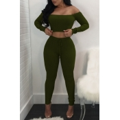 Lovely Trendy Dew Shouder Army Green Two-piece Pants Set