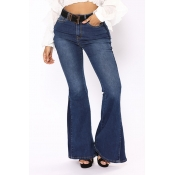 Lovely Casual Trumpet-shaped Deep Blue Denim Jeans