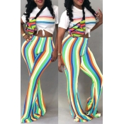 Lovely Casual Striped Trumpet-shaped Green  Pants