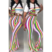 Lovely Casual Striped Trumpet-shaped White Pants