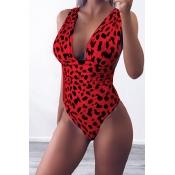 Lovely Trendy Leopard Printed Red One-piece Swimwears
