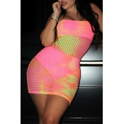 Lovely Sexy U Neck Hollowed-out Pink  Mini Dress (With Underwear)