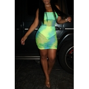 Lovely Sexy U Neck Hollowed-out Green  Mini Dress
