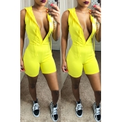 Lovely Sportswear Hooded Collar Yellow One-piece R