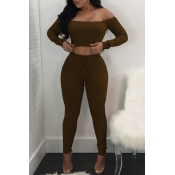 Lovely Trendy Dew Shouder Coffee Two-piece Pants Set