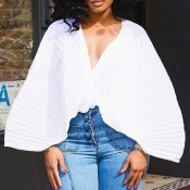 Lovely Casual Batwing Sleeve Loose White Chiffon  Blouses