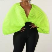 Lovely Casual Batwing Sleeve Loose Green Chiffon B
