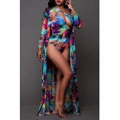Lovely Print Blue One-piece Swimsuit(With Cover-Up