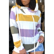 Lovely Casual Striped Multicolor Hoodies