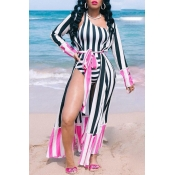 Lovely Bohemian One Shoulder Pink One-piece Swimwear (With Cover-up)