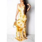Lovely Sweet Backless Yellow Floor Length Printed Dress