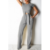 Lovely Trendy Knot Design Grey Two-piece Pants Set